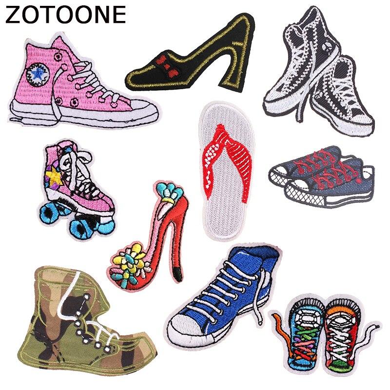 ZOTOONE Sapatos Coloridos Decorações de Ferro sobre Patches para Vestuário Selvagem Bordado DIY Remendo Militar Emblemas De Pano Aplicação Acessório