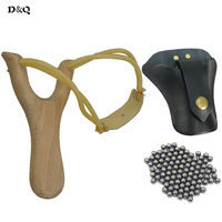 Powerful Wood Slingshot Bow Catapult + 100 pcs Stainless Steel 8mm Slingshot Balls + PU Leather Slinghsot Bag for Shooting Games