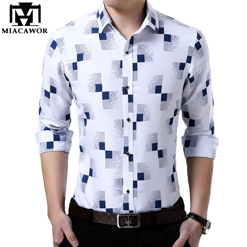 MIACAWOR New 2019 Brand Design Men Shirt Spring Long Sleeve Casual Shirt Fashion Print Chemise Homme Camisa Masculina C419