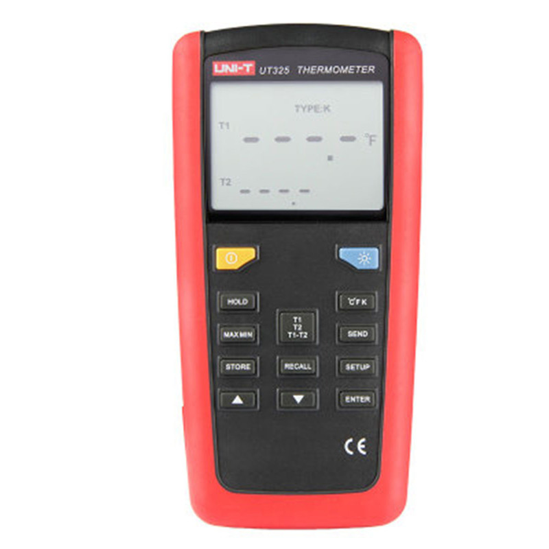 UNI-T UT325 Digital Thermometer Temperature Meter Tester USB Interface T1-T2 Dual Input with High/Lower Alarm & Auto Calibration
