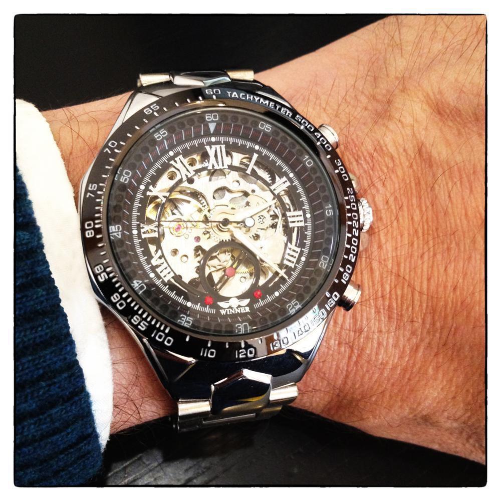 Winner New Number Sport Design Bezel Golden Watch Mens Watches Top Brand Luxury Montre Homme Clock Men Automatic Skeleton Watch 24