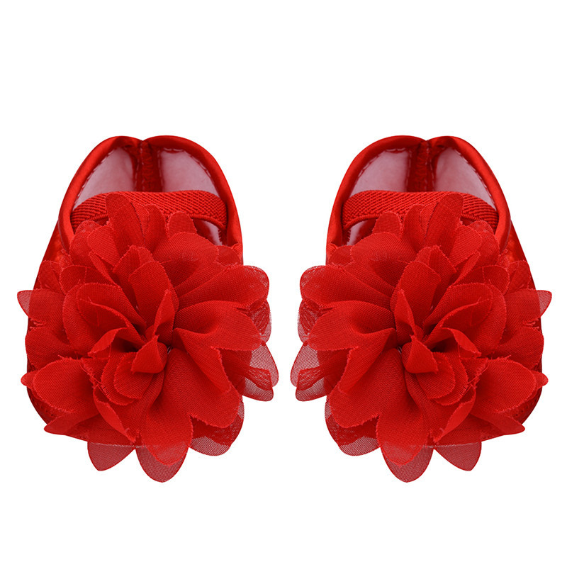 Hot SaleToddler Shoes Baby Princess Shoes Girls Flower Chiffon Rubber Band Soft Sole Bottom Casual Party Pre-Walkers Shoes