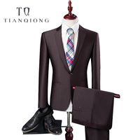 TIAN QIONG Cheap Latest Coat Pant Designs High Quality Polyester and Viscose Business Casual Men's Blue,brown Suits,Jacket+Pants