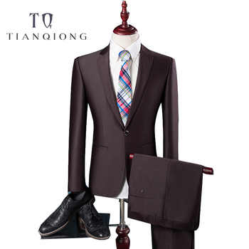 TIAN QIONG Cheap Latest Coat Pant Designs High Quality Polyester and Viscose Business Casual Men\'s Blue,brown Suits,Jacket+Pants - DISCOUNT ITEM  12 OFF Men\'s Clothing