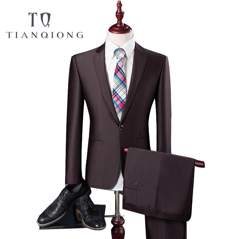 TIAN QIONG Pas Cher Dernières Manteau Pantalon Designs Haute Qualité Polyester et Viscose de Business Casual Hommes Bleu, brun Costumes, Veste + Pantalon-in Costumes from Vêtements homme    1