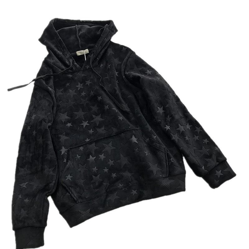Gold Velvet Pullover Hoodies Sweatshirt Women Moletom Autumn Winter Star Printing Hoodie Women Tops Tracksuit Sweatshirts C3940