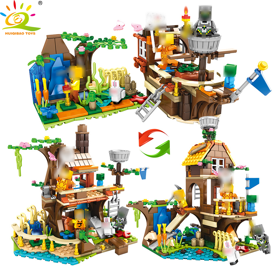 My World Mine Refinery Building Blocks Compatible Legoed Minecrafted City Figures Educational Luminous Brick Toys For Children-in Blocks from Toys & Hobbies