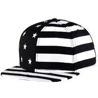 Men Women Canvas Baseball Caps American Flag Printed Hip Hop Bone Snapback Cap Black Red Hats