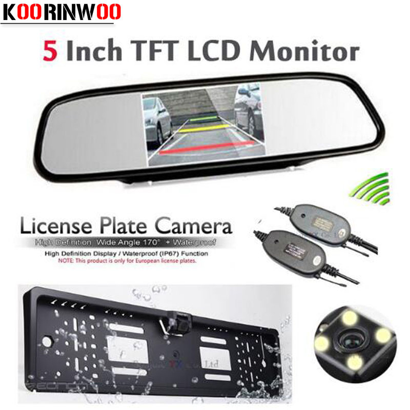 Koorinwoo 3 in 1 Parking kit HD 5' LCD 800*480 Car Monitor Wireless Europe License Plate Frame Rear view Camera Reversing Cam