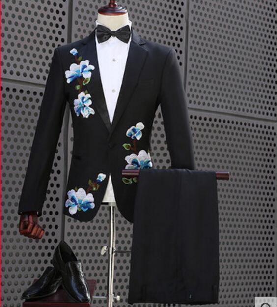 98659e78a523d Plus Size Big Flowers Embroidered Black Jacket Pants Set Luxurious Men s  Suit Blazer Costume Nightclub Men Singer Stage Suits