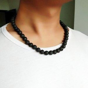 Men Necklace 6mm 8mm Black Vol