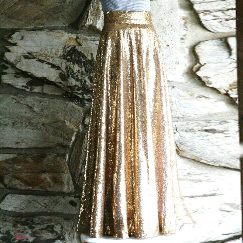 Sparkle Gold Sequined Long Skirts Women High Waistband 2018 A-line Skirt Zipper Custom Made Female Maxi Skirt  Saia Faldas