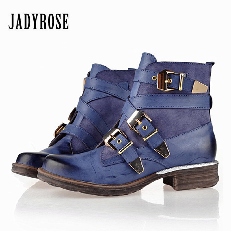 Jady Rose Retro Women Genuine Leather Straps Buckle Ankle Boots Punk Style Platform Rubber Short Booties Female Flat Martin Boot jady rose vintage brown women genuine leather mid calf boot chunky high heel platform boots straps buckle decor martin botas