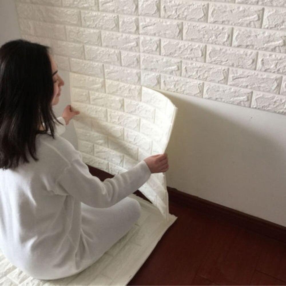Ziegel Tapete Wohnzimmer : Adhesive Brick Wall 3D Stickers