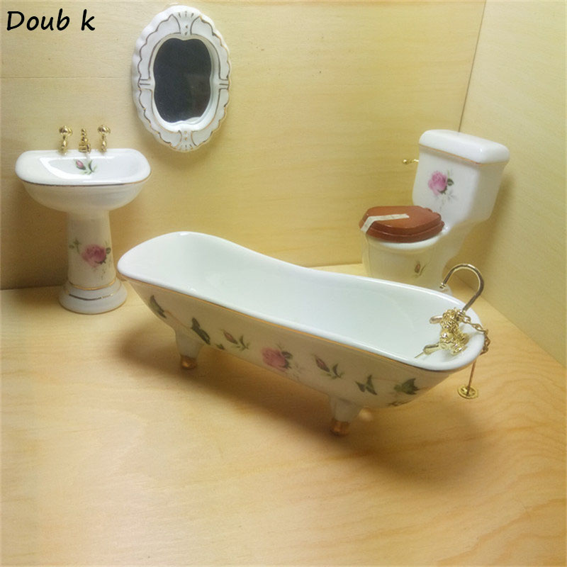 Doub K Simulation Pure white gold braided ceramic bathroom 1:12 DOLLHOUSE MINIATURE Pretend Play Furniture Mini Toys Household