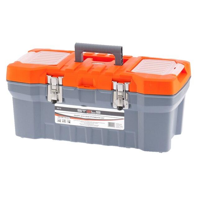 Ящик для инструмента STELS 90712 (22х26х51 см, пластиковый корпус, металлические замки, внутренний лоток, органайзеры в крышке)