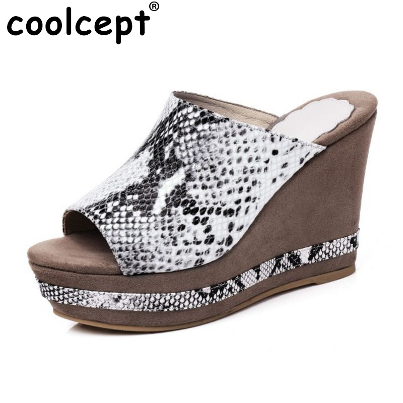 Coolcept Sexy Women Real Genuine Leather High Wedges Sandals Peep Toe Platform Trfile Slippers Brand Quality Shoes Size 34-39 free shipping 100%real picture women shoes wedges high heels platform luxury ethnic diamond genuine leather peep toe sandals