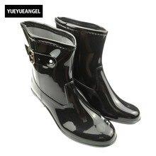 Новое поступление Лидирующий бренд женские непромокаемые ботинки Водонепроницаемый точка резиновая Пряжка Повседневная обувь для дам острый носок Полусапожки плюс Размеры