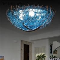 Creative LED bird's nest lamp light house children's room lamp simple bedroom lamp light round Mediterranean lamp free