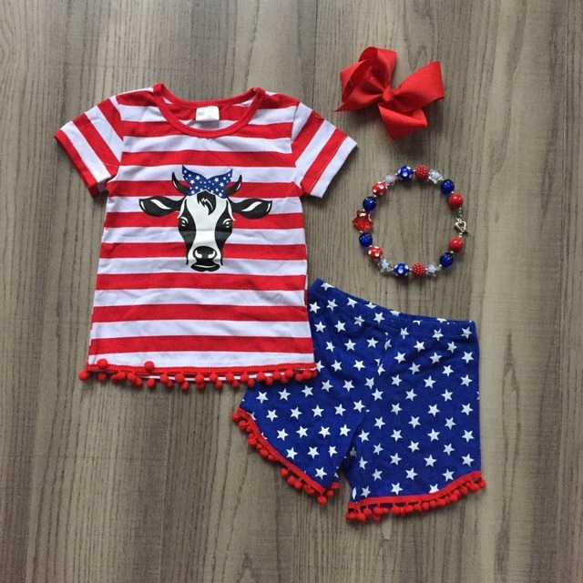 509c40bc180 hot new arrival baby boy girls summer boutique clothing cow head top  independence day outfits with accessories