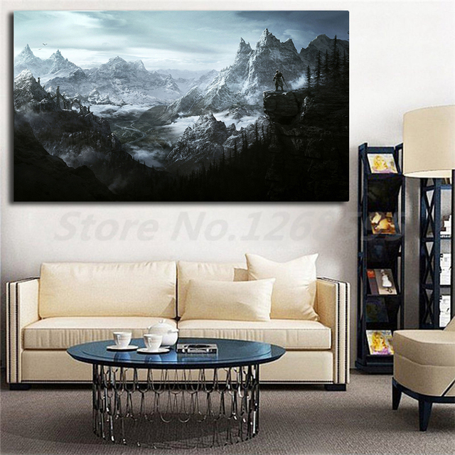 US $5 7 5% OFF|The Elder Scrolls V Skyrim HD Wallpaper Wall Art Canvas  Posters Prints Painting Wall Pictures For Office Living Room Home Decor-in