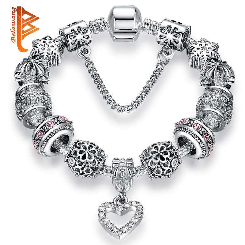 2018 Beads Charming High Quality Hearts patut asal Gelang Perak Gelang Kristal & Bangles untuk Barang Kemas Fesyen Wanita