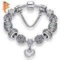 2018 de alta calidad corazón encantos fit Original pulsera de plata cuentas de cristal pulseras y brazaletes para las mujeres joyería de moda