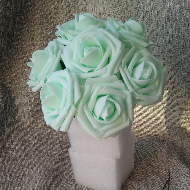 Aliexpress buy mint roses artificial flowers 100 heads for mint roses artificial flowers 100 heads for bridal bouquet wedding decor floral arrangement mint centerpiece wholesale mightylinksfo