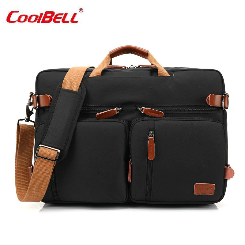 COOLBELL 17 Men's Business Laptop Backpack Waterproof School Travel Bag Solid Shoulder Bags for Teenagers Boys Men Women New-FF 14 15 15 6 inch flax linen laptop notebook backpack bags case school backpack for travel shopping climbing men women