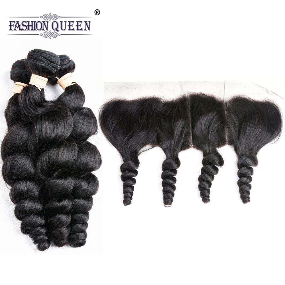 Brazilian Loose Wave Bundle With Closure 3 Bundle Human Hair Weave NonRemy Hair Ear to Ear Lace Frontal Closure With Bundle