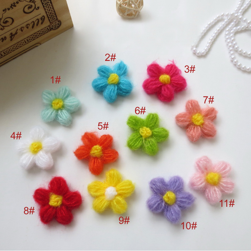 80PCS/lot Handmade Woolen Yarn Crochet Knitted Flower Applique Patchwork DIY Needlework Sewing Accessories Cloth Paste 477