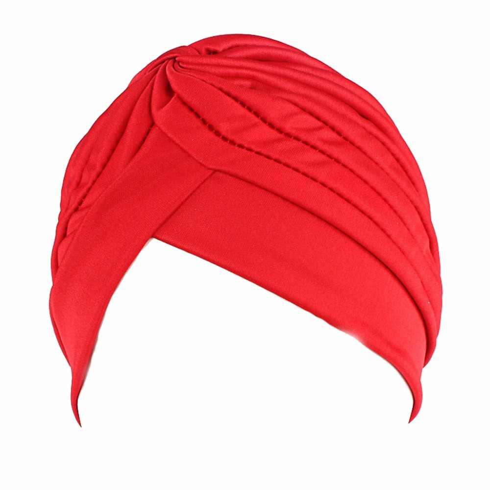 Для женщин и мужчин тюрбан, повязка на голову бандана для химиотерапии плиссированные индийские кепки Новинка 2017