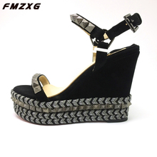 FMZXG women sandals wedges shoes for womens summer platform comfort sandals real leather narrow Party rivet casual wome sandals