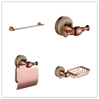 4 PCS Rose gold Brass and Marble Bathroom hardware accessories set Robe Clothes hook Paper holder Towel rack Bar Soap Basket