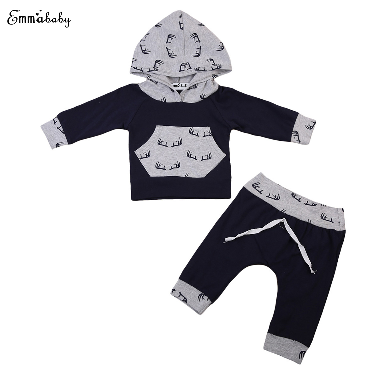 Emmababy 2PCS Toddler Baby Boys Floral Hooded Tops Sweatshirt + Pants Hoodie Outfit Set