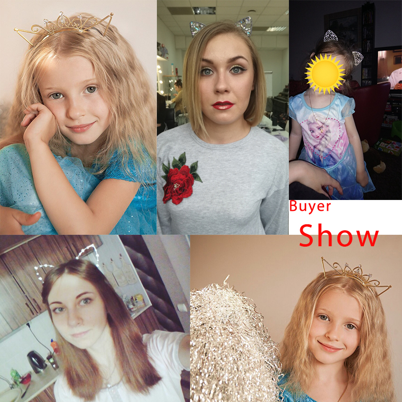 Bezel AWAYTR Novelty Kids Cat Ears Headband Bezel With EarCrystal Hairband Festival Hair Girls Crown Rhinestone Headdress 4