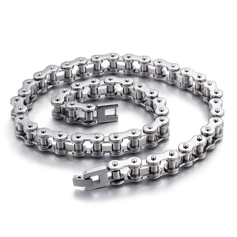 Оптовая продажа от производителя, трендовая Мужская велосипедная цепь из титановой стали, модное ожерелье, велосипедная цепь, ювелирные изделия из нержавеющей стали