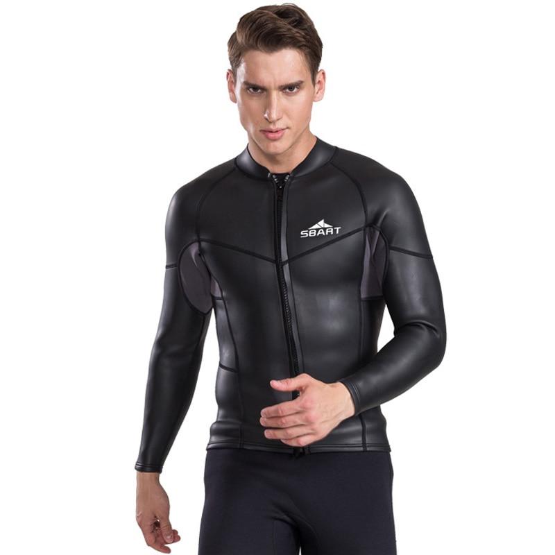 SBART 2017 2MM Long Sleeve Neoprene Wetsuit Men Top Sunscreen UV Surfing Smoothskin Jacket For Diving