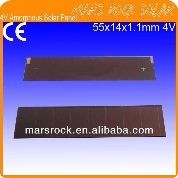 4V 55x14x1.1mm Amorphous Silicon Thin Film Solar Photovoltaic Module PV cells apply for Toys,Calculator,Mini solar panel, Lamps.