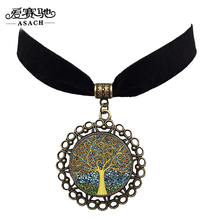 ASACH 3 Colors Vintage Tree Of Life Round Pendant Necklace Chokers For Women Gothic Style Black Velvet Chocker Necklaces colar