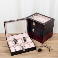 Alligator Pattern Leather Watches Displayer Box Luxury PU 10 Grids Watches Orgainzier Displayer With Window For Men Jewelry Box