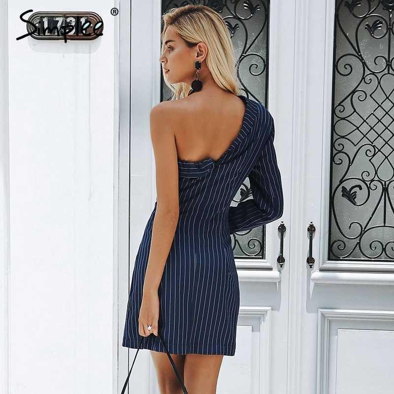 Осенне-зимнее женское платье Simplee, повседневное офисное полосатое короткое женское платье с одним открытым плечом, блейзер, уличная одежда