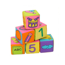 6 PCS Cartoon Cloth Velvet Block Building Enlightenment Animal Alphabet Number Early Education Toys Cube