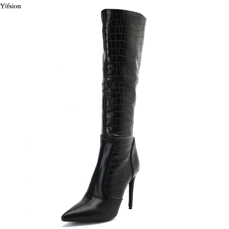 Yifsion New Fashion Women Spring Knee High Boots Sexy Thin High Heel Shoes Nice Pointed Toe Black Party Shoes Women US Size 5-13Yifsion New Fashion Women Spring Knee High Boots Sexy Thin High Heel Shoes Nice Pointed Toe Black Party Shoes Women US Size 5-13