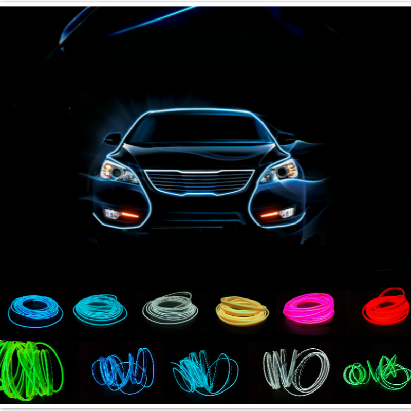 JURUS 5m auto interior led el flexible wire rope tube neon light line 10 colors with 12v car inverter controller free shipping 10 colors neon led bulbs luminous led light 3d queen letter couples cap el wire glowing rope tube outdoors sport hat as gift