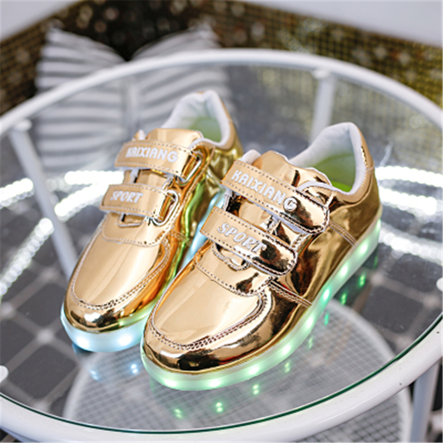 Kids Led Star Shoes Luminous Girl Glowing Sneakers Usb Flashing Zapatos New Fashion Kids Shoes Children Pu Leather 50Z0018 new hot sale children shoes pu leather comfortable breathable running shoes kids led luminous sneakers girls white black pink