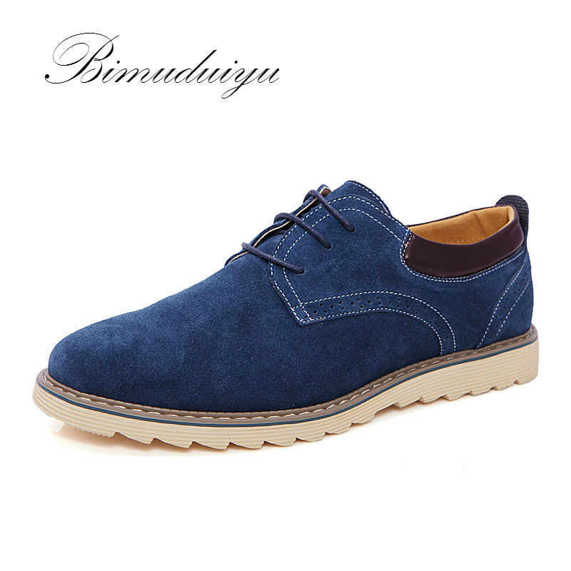 BIMUDUIYU Brand Classic Spring Autumn Top Suede Leather Men's Flat Shoes Casual Luxury Leisure Drive Oxford Large Plus Size Sale high quality men fashion black white leather paint splatter low top casual shoes unisex luxury brand spring autumn flat shoes