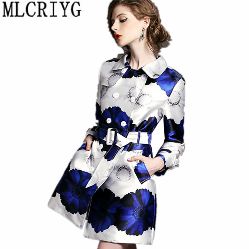 2019 New Spring Autumn   Trench   Coat for Women Long Slim Women's Windbreaker With Belt Floral Printing   Trench   Female Clothes YQ182