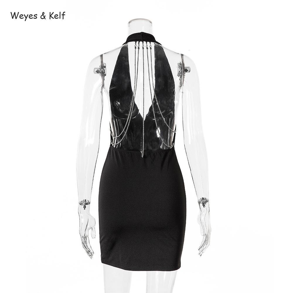 8f2c5a92131 Weyes   Kelf Black V neck Chain Sexy Mini Dress 2018 Slim Package Hip Mini  Dress Female Red Summer Bodycon Backless Dress Women-in Dresses from Women s  ...