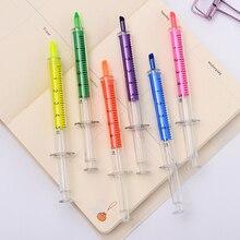 36 pcc/Lot Sringe Evidenziatore penna di colore Sottile punto marcatore liner penne di Cancelleria Per Ufficio accessori per la Scuola forniture A6527